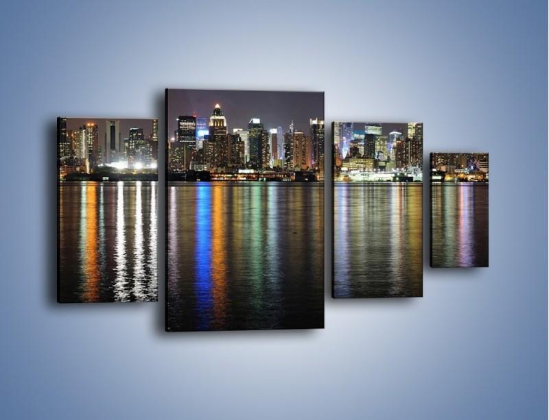 Obraz na płótnie – Światła miasta w lustrzanym odbiciu wody – czteroczęściowy AM222W4