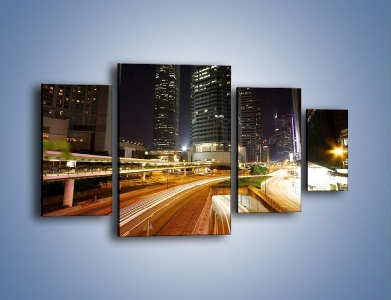 Obraz na płótnie – Miasto w nocnym ruchu ulicznym – czteroczęściowy AM225W4