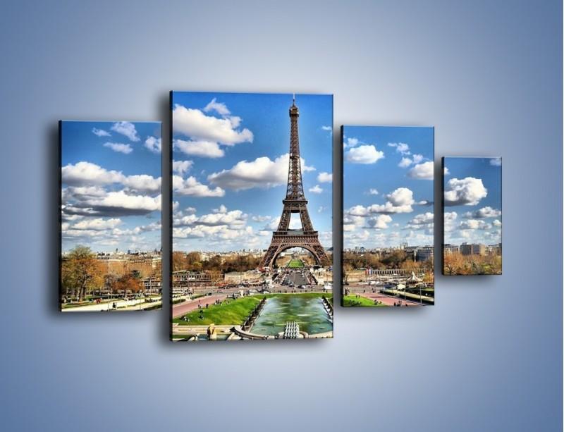 Obraz na płótnie – Wieża Eiffla w pochmurny dzień – czteroczęściowy AM227W4