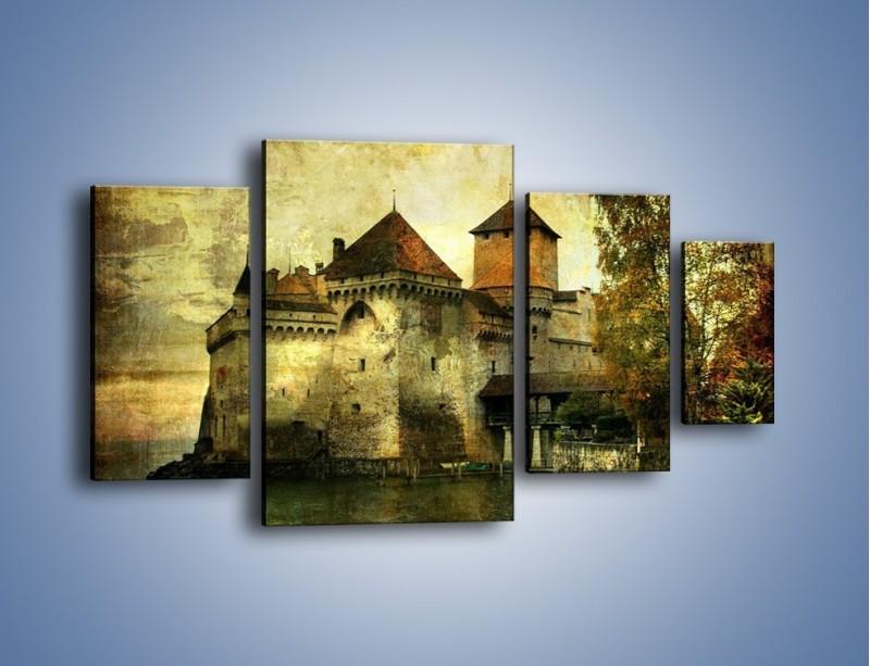 Obraz na płótnie – Średniowieczny zamek w stylu vintage – czteroczęściowy AM233W4
