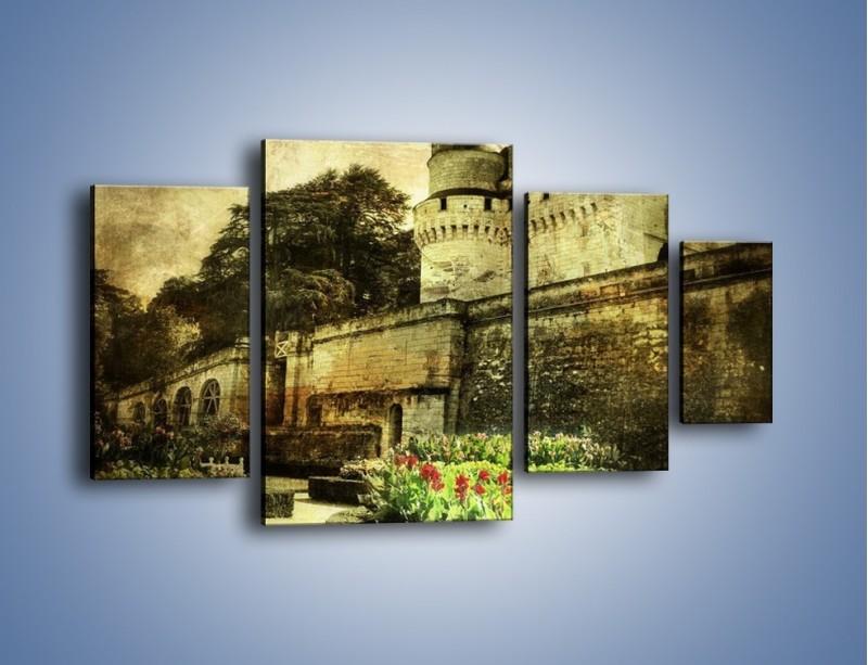 Obraz na płótnie – Zamek w stylu vintage – czteroczęściowy AM234W4