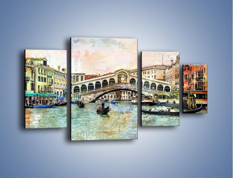 Obraz na płótnie – Wenecja w stylu vintage – czteroczęściowy AM239W4