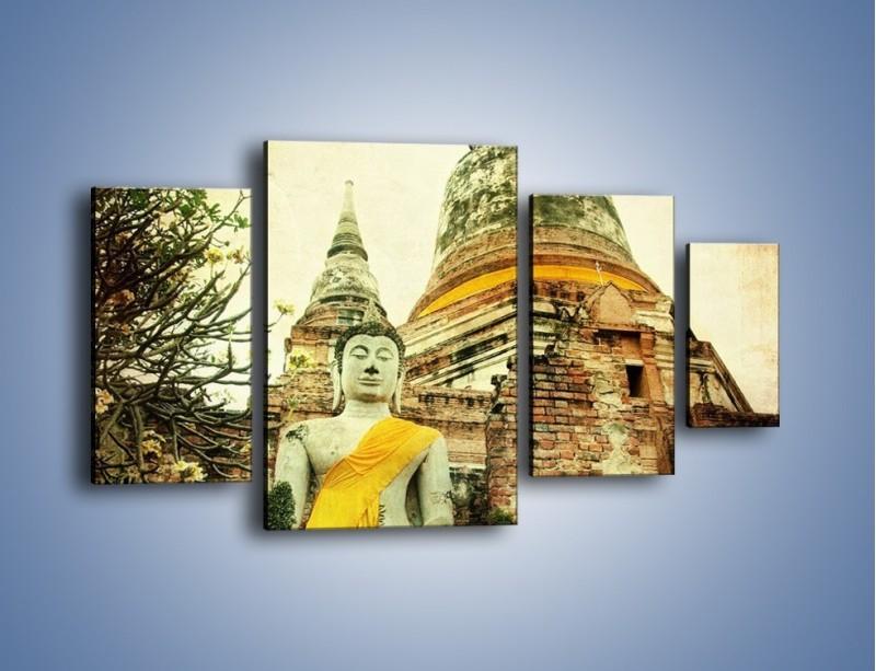 Obraz na płótnie – Tybetańska architektura w stylu vintage – czteroczęściowy AM247W4