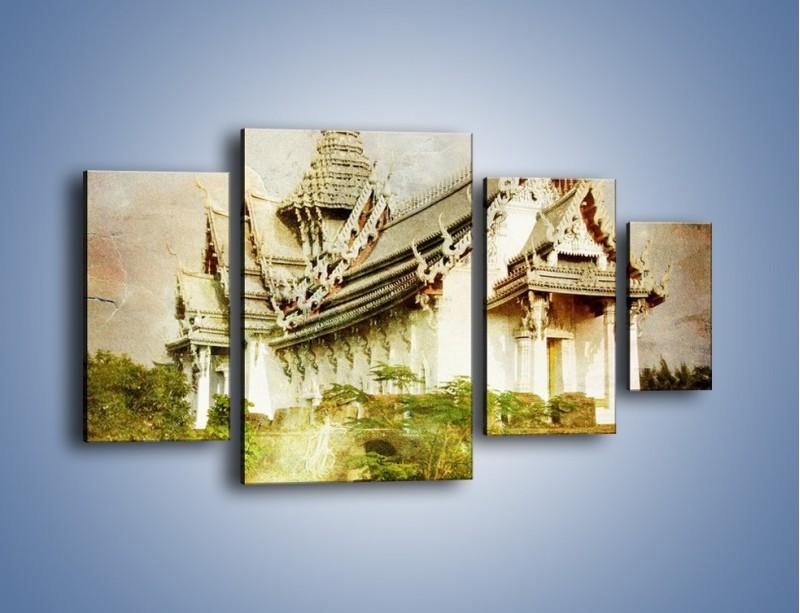Obraz na płótnie – Dalekowschodnia architektura vintage – czteroczęściowy AM248W4