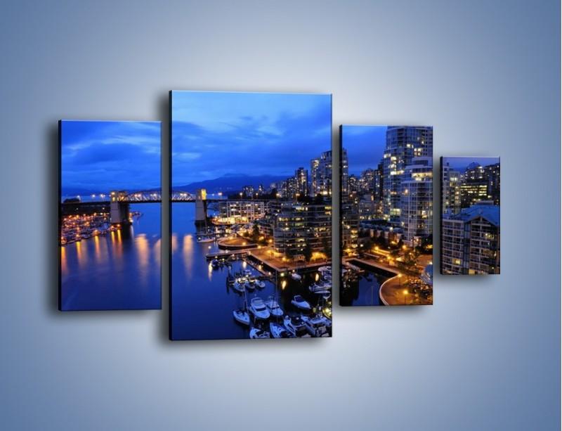 Obraz na płótnie – Port na jachty w mieście nocą – czteroczęściowy AM250W4