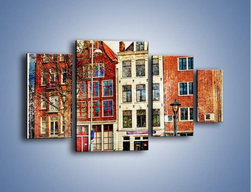 Obraz na płótnie – Amsterdam w stylu vintage – czteroczęściowy AM258W4