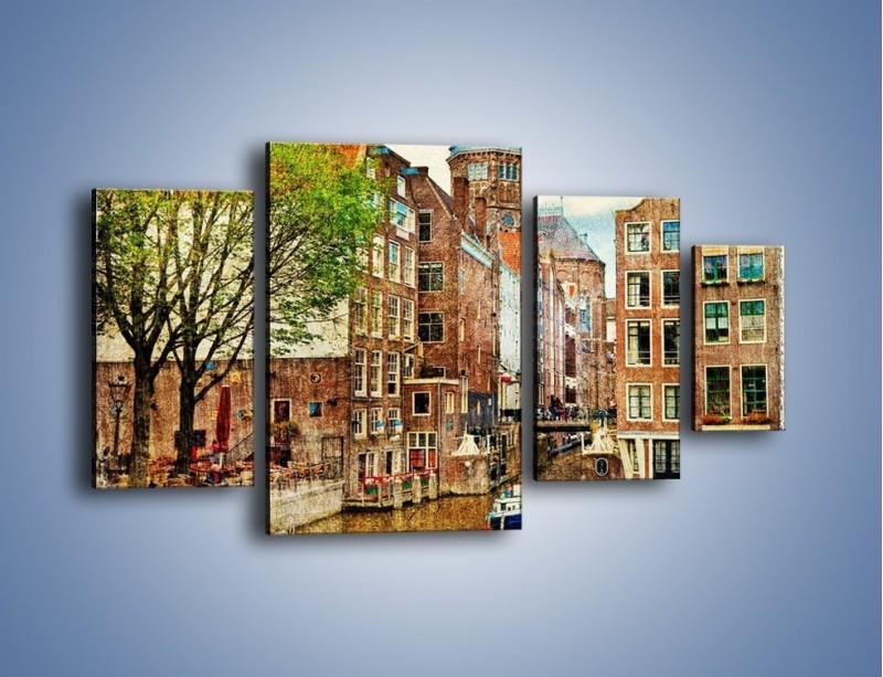 Obraz na płótnie – Kanał w Amsterdamie vintage – czteroczęściowy AM259W4