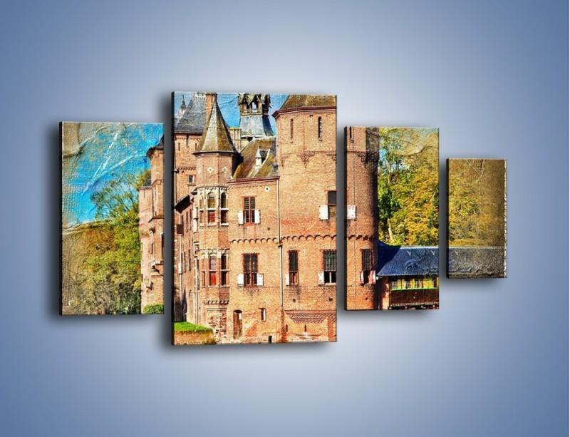 Obraz na płótnie – Zamek nad wodą w stylu vintage – czteroczęściowy AM262W4
