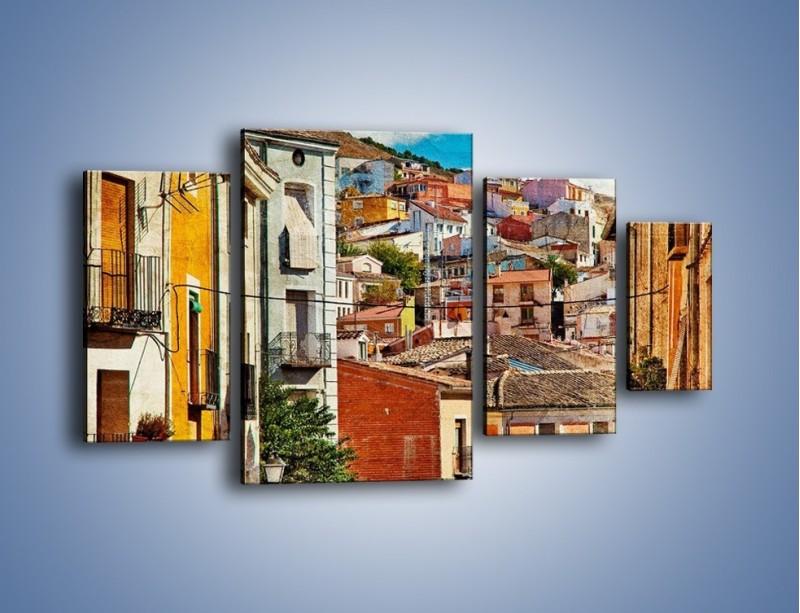 Obraz na płótnie – Kolorowe domki na wzgórzu vintage – czteroczęściowy AM264W4