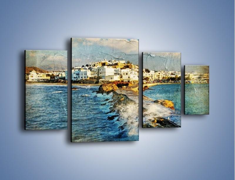 Obraz na płótnie – Grecka dróżka przez wodę vintage – czteroczęściowy AM268W4