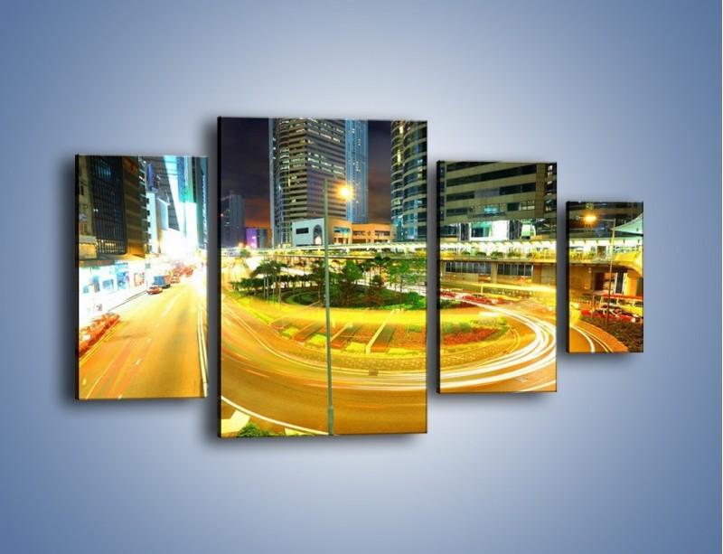 Obraz na płótnie – Światła samochodów w ruchu – czteroczęściowy AM280W4