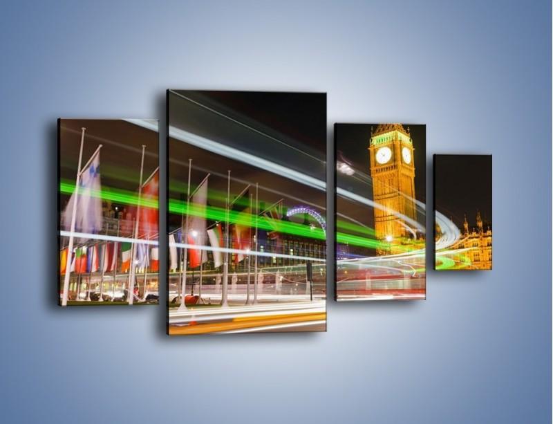 Obraz na płótnie – Światła samochodów na tle Big Bena – czteroczęściowy AM283W4