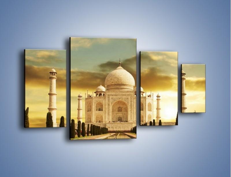 Obraz na płótnie – Tadź Mahal o zachodzie słońca – czteroczęściowy AM285W4