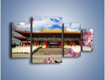 Obraz na płótnie – Azjatycka architektura z kwiatami – czteroczęściowy AM298W4