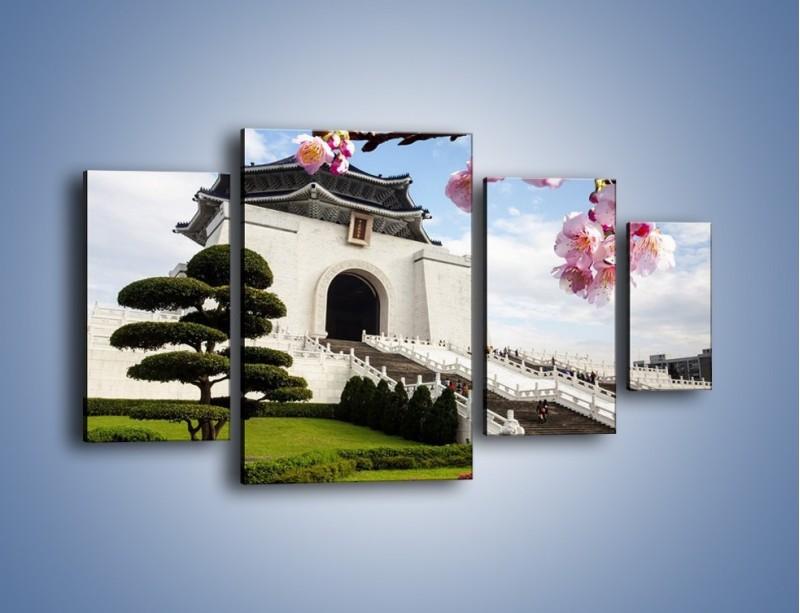 Obraz na płótnie – Azjatycka architektura – czteroczęściowy AM299W4