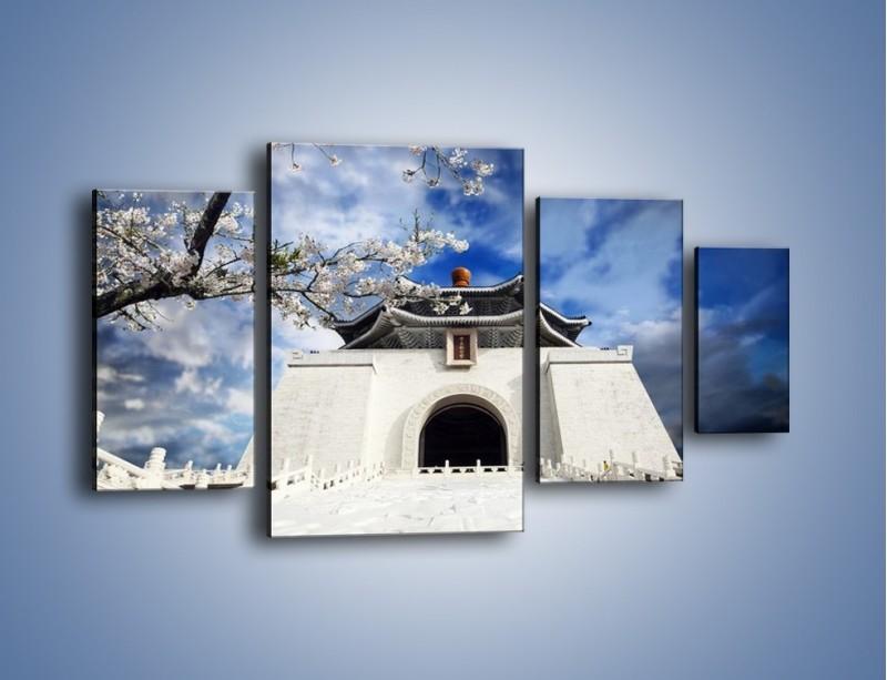 Obraz na płótnie – Azjatycka architektura z białymi kwiatami – czteroczęściowy AM300W4