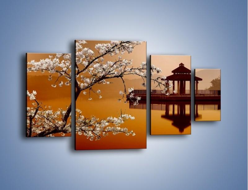 Obraz na płótnie – Kwiaty na tle Sun Moon Lake – czteroczęściowy AM301W4