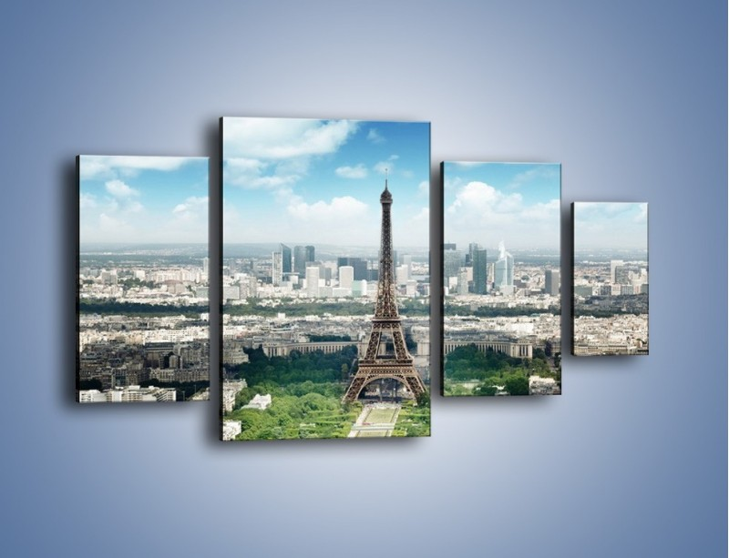 Obraz na płótnie – Chmury nad Wieżą Eiffla – czteroczęściowy AM302W4