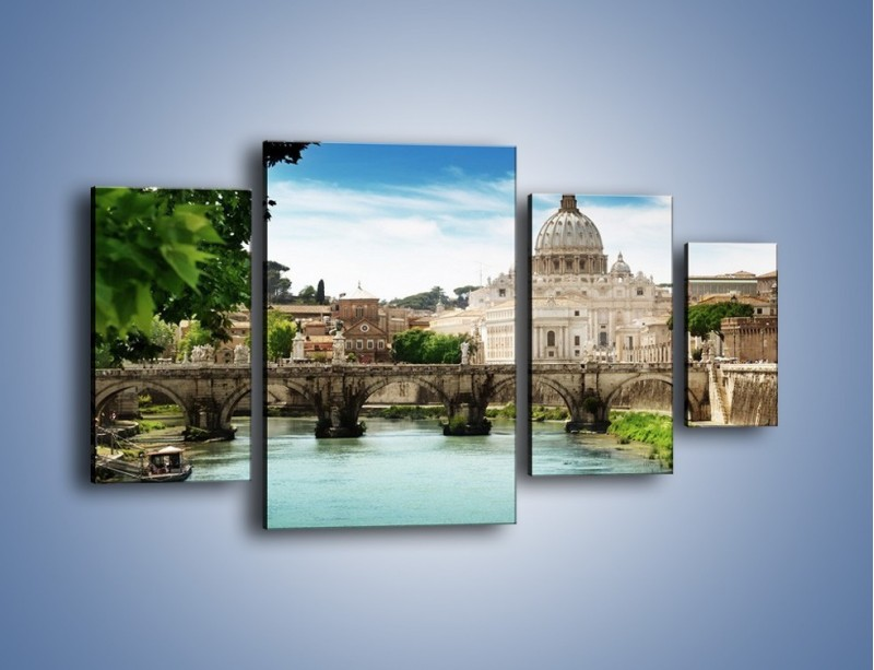 Obraz na płótnie – Rzeka Tyber na tle bazyliki – czteroczęściowy AM303W4