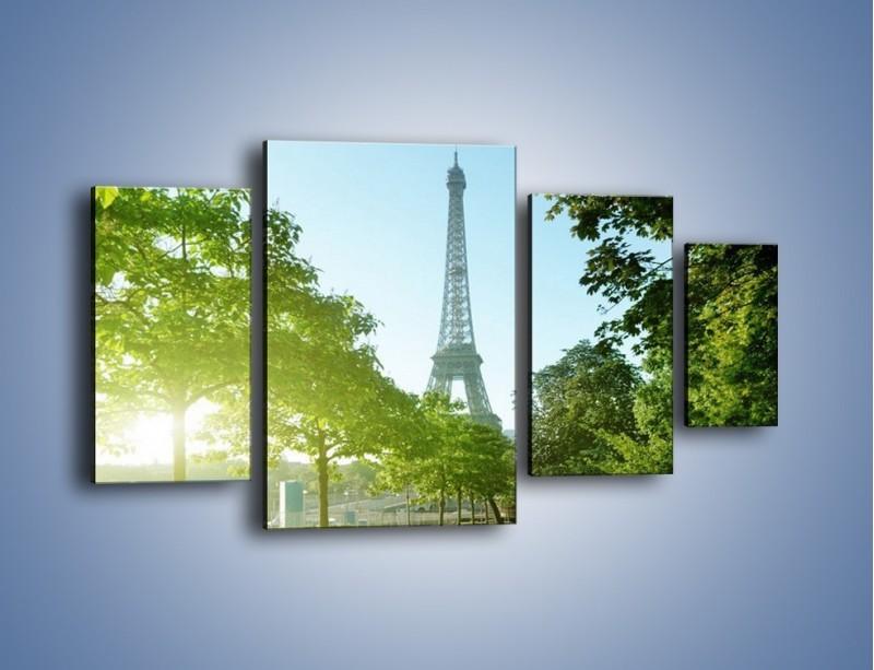 Obraz na płótnie – Uliczka w parku na tle Wieży Eiffla – czteroczęściowy AM308W4