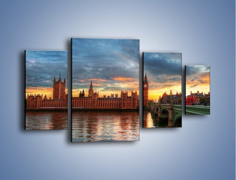 Obraz na płótnie – Pałac Westmnisterski i Big Ben – czteroczęściowy AM321W4