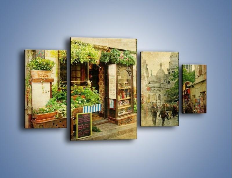 Obraz na płótnie – Paryska dzielnica Montmarte – czteroczęściowy AM323W4