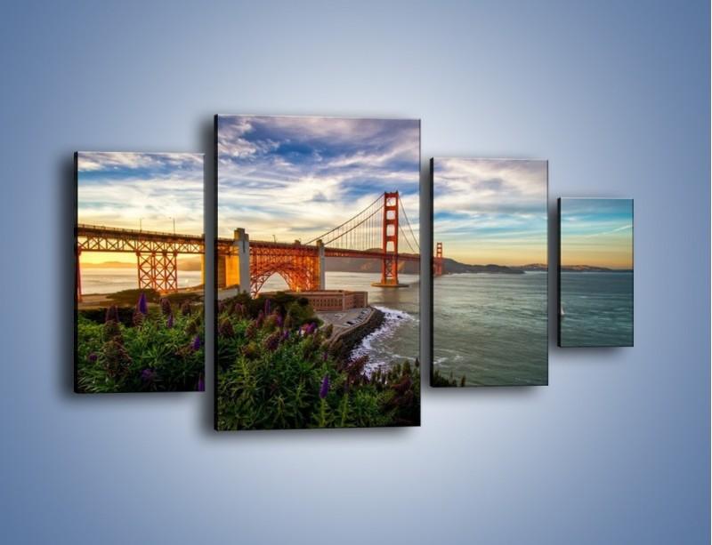 Obraz na płótnie – Most Golden Gate o zachodzie słońca – czteroczęściowy AM332W4