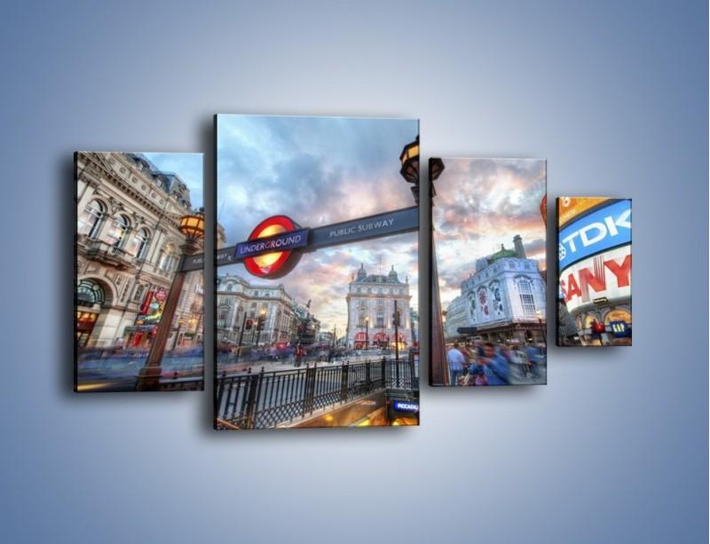 Obraz na płótnie – Wejście do londyńskiego metro – czteroczęściowy AM334W4
