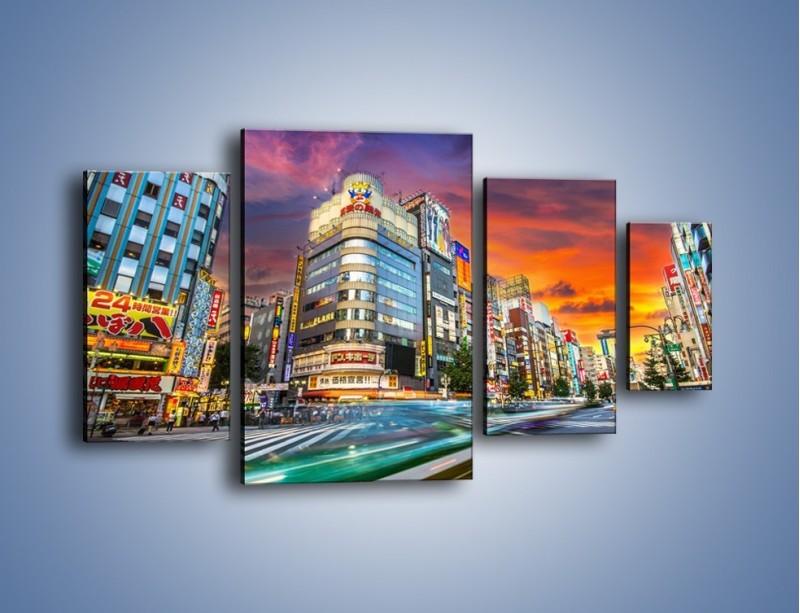 Obraz na płótnie – Tokyo na tle kolorowego nieba – czteroczęściowy AM336W4