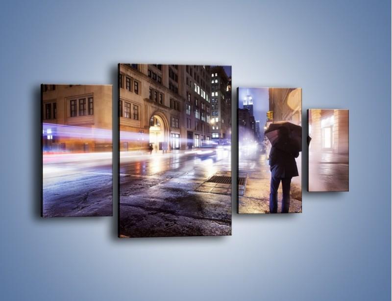 Obraz na płótnie – Deszczowa noc w Nowym Jorku – czteroczęściowy AM343W4