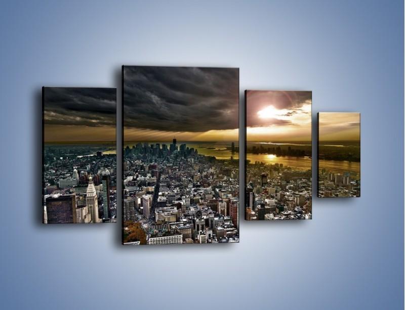 Obraz na płótnie – Czarne chmury nad Nowym Yorkiem – czteroczęściowy AM347W4