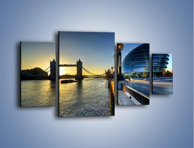 Obraz na płótnie – Londyński Tower Bridge – czteroczęściowy AM348W4