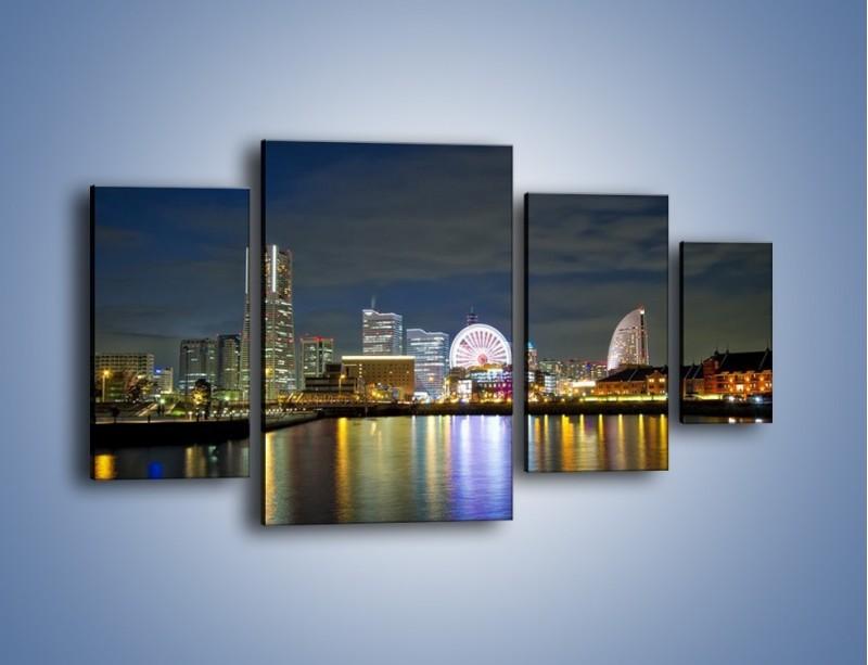 Obraz na płótnie – Yokohama nocą – czteroczęściowy AM353W4