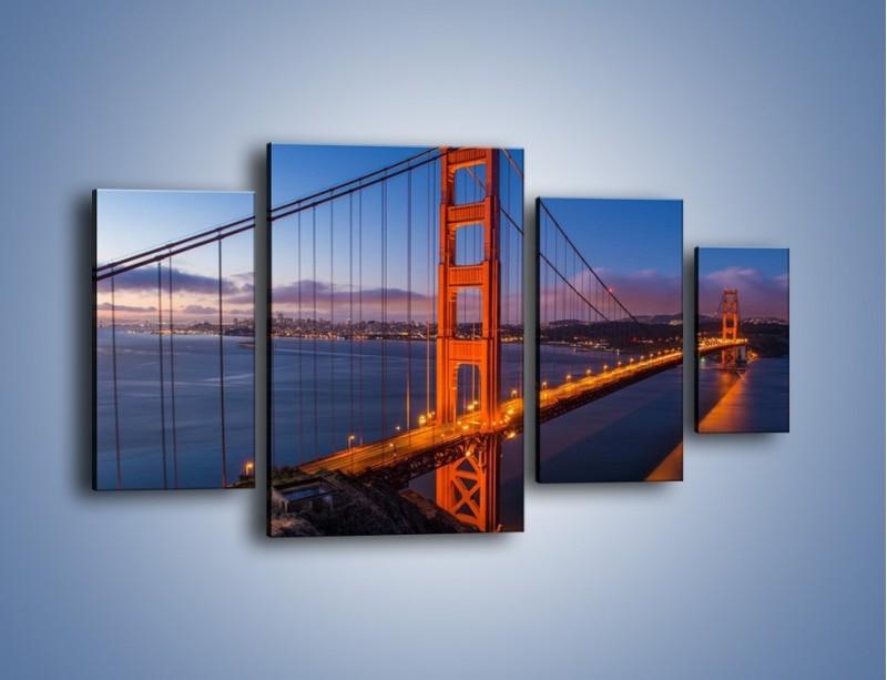 Obraz na płótnie – Rozświetlony most Golden Gate – czteroczęściowy AM360W4
