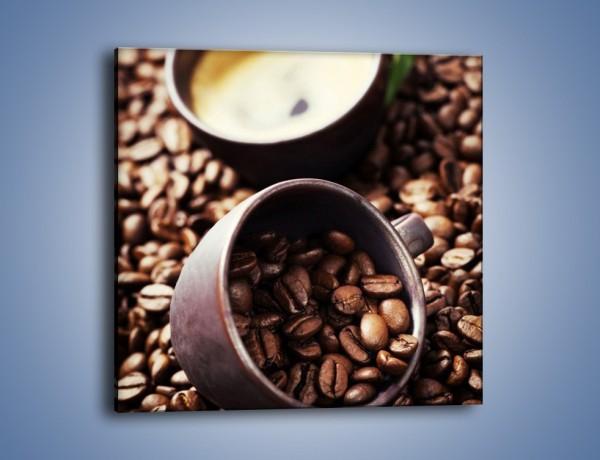 Obraz na płótnie – Kawa na rozsypanych ziarnach – jednoczęściowy kwadratowy JN389