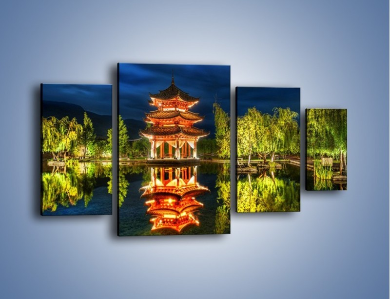 Obraz na płótnie – Urokliwy park w Chinach – czteroczęściowy AM365W4