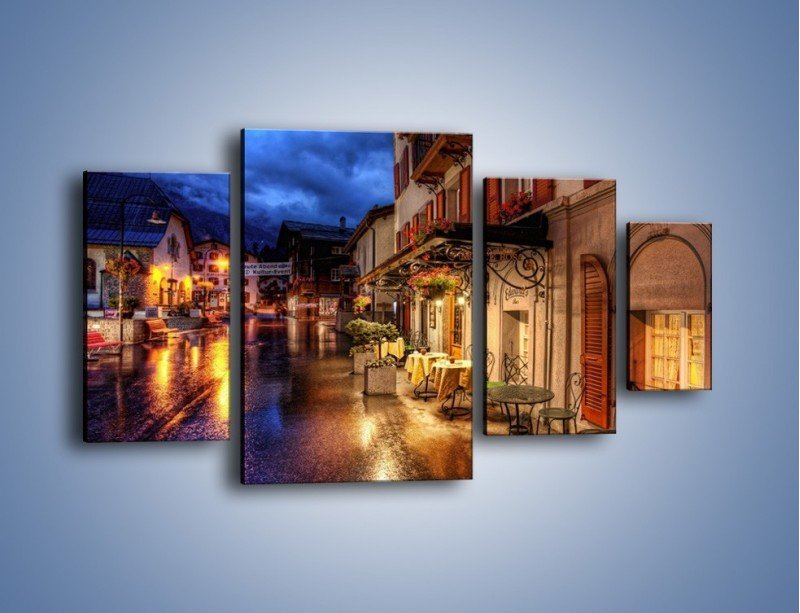 Obraz na płótnie – Romantyczne miasteczko pod Alpami – czteroczęściowy AM368W4