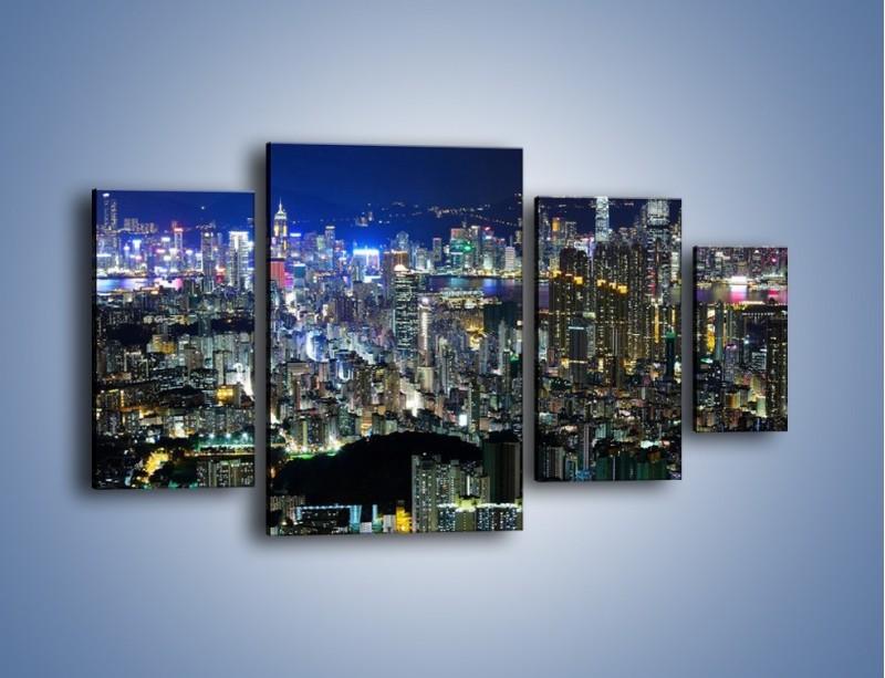 Obraz na płótnie – Drapacze chmur w Hong Kongu – czteroczęściowy AM369W4