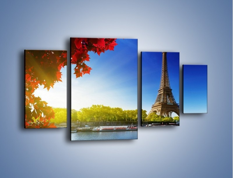 Obraz na płótnie – Wieża Eiffla w piękny dzień – czteroczęściowy AM373W4