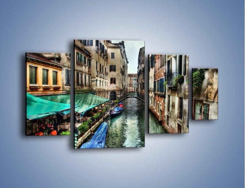 Obraz na płótnie – Wenecka uliczka w kolorach HDR – czteroczęściowy AM374W4