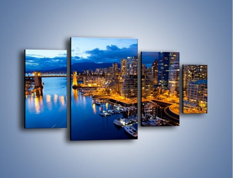 Obraz na płótnie – Zapadająca noc nad Vancouver – czteroczęściowy AM384W4