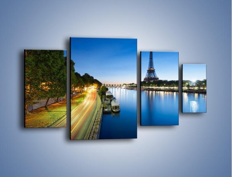 Obraz na płótnie – Zapadający zmrok w Paryżu – czteroczęściowy AM385W4