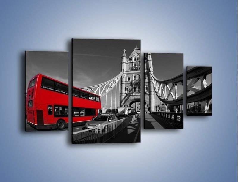 Obraz na płótnie – Tower Bridge i czerwony autobus – czteroczęściowy AM394W4
