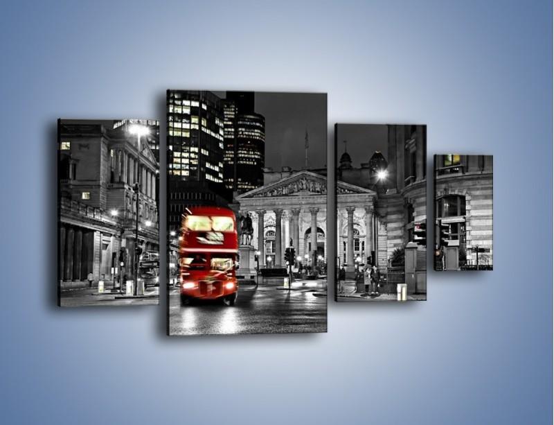 Obraz na płótnie – Czerwony autobus w Londynie – czteroczęściowy AM395W4