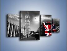 Obraz na płótnie – Big Ben i autobus z flagą UK – czteroczęściowy AM396W4