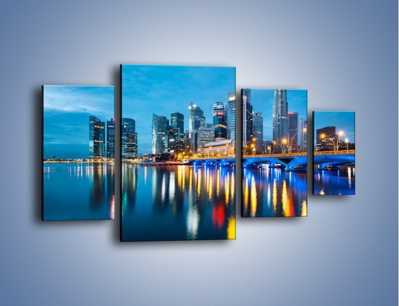 Obraz na płótnie – Kolorowe światła Singapuru – czteroczęściowy AM408W4