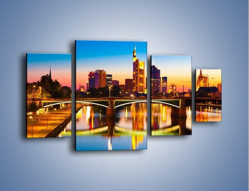Obraz na płótnie – Oświetlony most we Frankfurcie – czteroczęściowy AM416W4