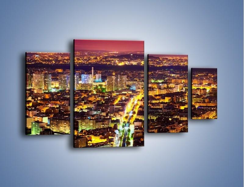 Obraz na płótnie – Kolory Paryża nocą – czteroczęściowy AM419W4