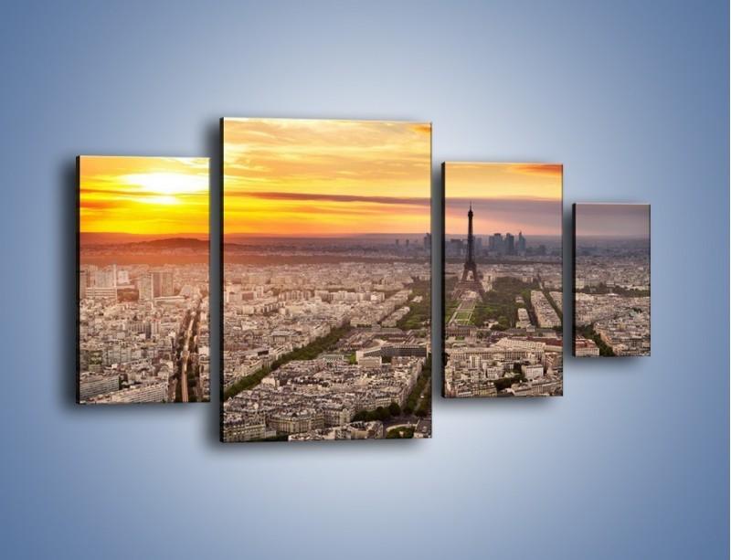 Obraz na płótnie – Zachód słońca nad Paryżem – czteroczęściowy AM420W4