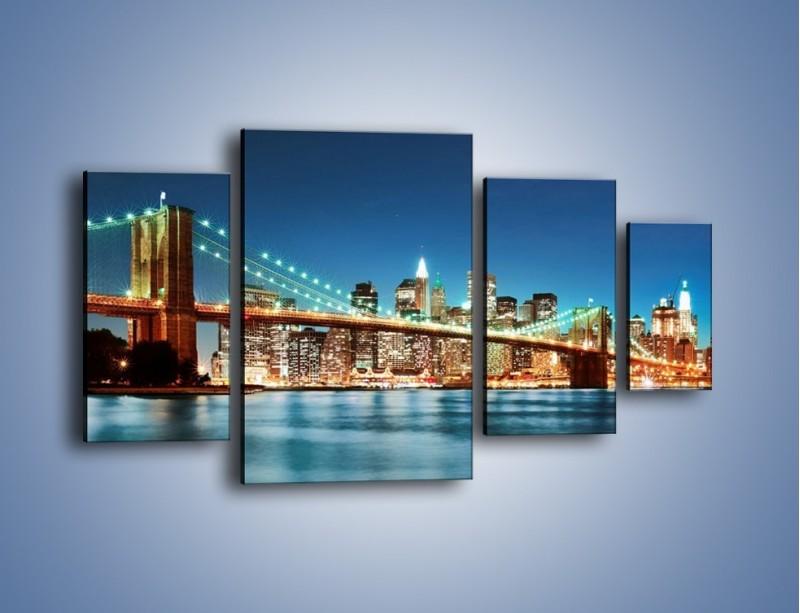 Obraz na płótnie – Most Brookliński na tle Nowego Jorku – czteroczęściowy AM428W4